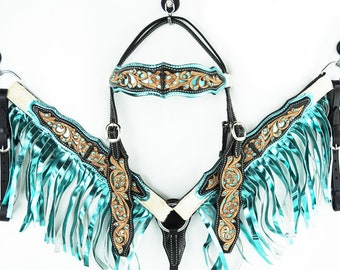 Turquoise Fringe Headstall Engraved Leather Hair On Western Barrel Racer Trail Horse Bridle Breast Collar Plate Tack Set