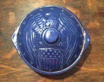 Vintage McCoy Blue Bean Pot - McCoy USA Stoneware Pot - American Eagle - American Flag