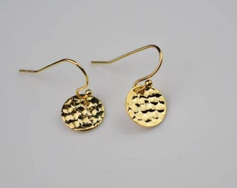 gold earring disc coin round drop earring simple earrings everyday/gift for her
