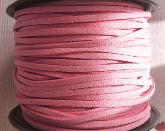 Pink Faux Suede Leather Cord, 1 yard Faux Suede Cord, 3mm Pink Flat Cord, Lace Bracelet Cord  Lace String Rope Flat Thread for Jewelry