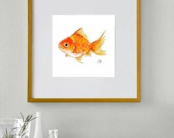 Framed goldfish print // goldfish print // goldfish art // fish print // fish art // goldfish wall art // fish decor // bathroom decor