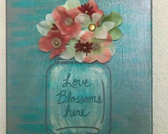 Love Blossoms Here 3D flower wall decor