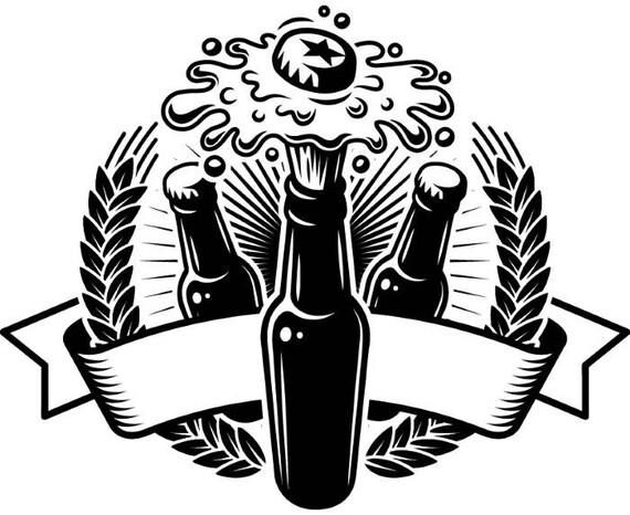 Botella De Cerveza Dibujo: Beer Logo 6 Bottle Banner Shield Sunburst Pub Bar Tavern