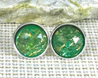 St Patricks Day Jewelry - Green Fire Opal Earrings - St. Patrick's Day Accessories - Stud Earrings - Green Jewelry - Irish Earrings - Irish