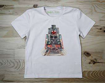 T-shirt for Children, T-shirt Locomotif, T-shirt Train, T-shirt Railway, Tshirt Steam, Tee Car, Watercolor Print, Gift for Kids, Family Look