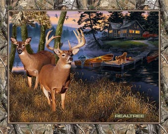 """Real Tree Lakeside Sunset by Darrell Bush for Realtree by Sykel Enterprises Pattern,  10164, Brown  36"""" x 44"""" Panel"""