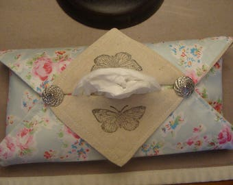 Case tissue linen and cotton Butterfly stamp