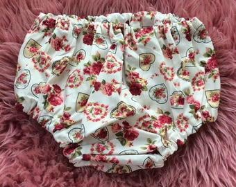 Vintage Style Floral Over-Nappy Knickers, Nappy Cover, Daiper Cover