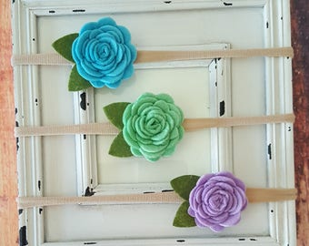 Felt Flower Headbands-Baby Girl Headbands-Baby Headbands-Nylon Headbands-Newborn Headbands-Toddler Headbands-Teen Headband-Hair Accessories