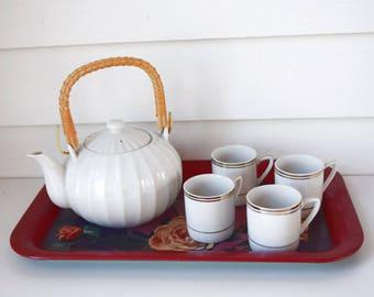 Vintage Tea Set White China Teapot Bamboo Handle Teacups