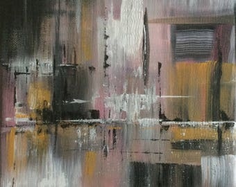 Pink and gray - city original acrylic painting on canvas