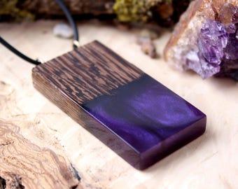 Long wood necklace Purple necklace Purple pendant Wood resin pendant Resin necklace Long wood resin pendant resin jewelry wood jewelry