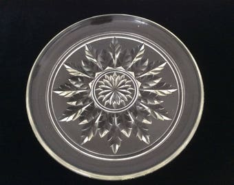 Beautiful Art Deco Pressed Glass Serving Plate, Assiette, French Vintage, Clear, Transparent, Leaf Effect, Transparent