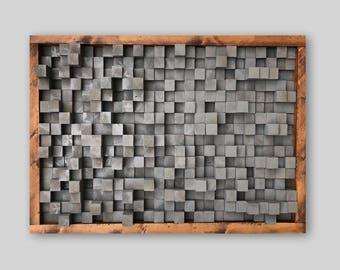 Reclaimed Wood, Sound Diffuser, Acoustic Panel, SoundProofing, Proof, Pixel, art, grey wood art, 3d art, wooden art, new, studio