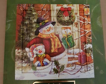 Snowman visiting friends card