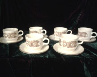 Staffordshire Pottery Ironstone 6 cups and saucers