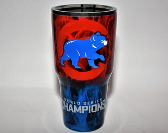 Chicago Cubs Yeti, Chicago Cubs Ozark, Custom Yeti, Custom Ozark, Chicago Cubs Rtic, Chicago Cubs cup, World Series Cubs Cup