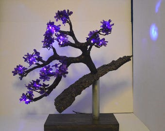 LED Bonsai Tree Cascade Style Floating on Bark