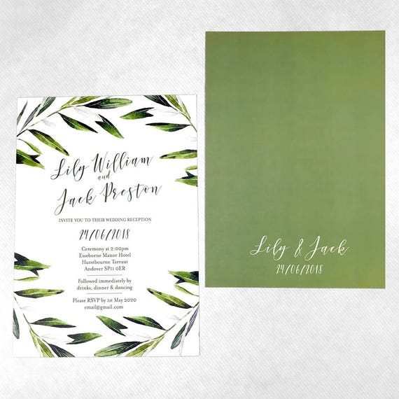 Olive leaf wedding invitation, Olive branch wedding invitation suite, Greenery Wedding Invitation Set,  Green Leaf Invitations, A5