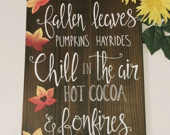 Autumn is here, fall decor, home decor signs, bonfire sign,