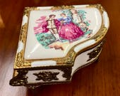 Victorian Porcelain Enamel Musical Piano Trinket Box, Jewelry Ring Box, Music Box