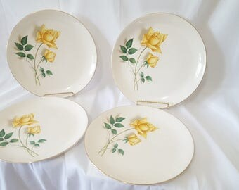 ON SALE, Canonsburg Plates, Canonsburg China, Yellow rose plates, Vintage Plates, Farm House Kitchen, Antique plates, Rose Plates, Flower