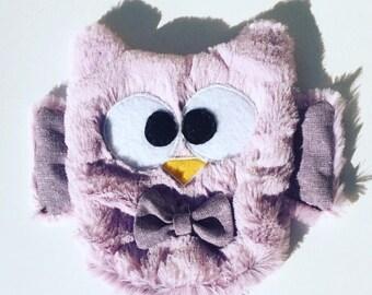 Purple OWL minky soft baby blanket.