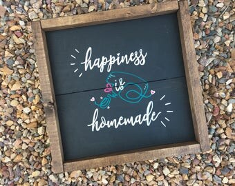 Happiness is Homemade, Square Box Frame, Chalkboard, Kitchen Decor, Vintage Handmixer Art, Rustic Box Feame