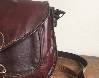 leather cross body messenger bag, handmade leather bag