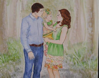 Custom family watercolor painting (full length figures, background optional)