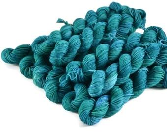 20% Off Mini Skeins, Mini Sock Yarn, Hand Dyed, Sock Weight, Superwash Merino Wool Yarn, Knitting Yarn, Sock Yarn, blue green - Caribbean