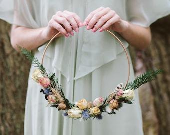 Bridesmaid Flower Hoop, Alternative bouquet, bridesmaid bouquet, floral hoop, wedding bouquet, dried flowers, rustic bouquet, boho