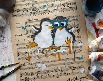 Penguin gift, kissing penguin art, penguin picture, penguin painting, sheet music art, sheet music painting, love is love, anniversary gift