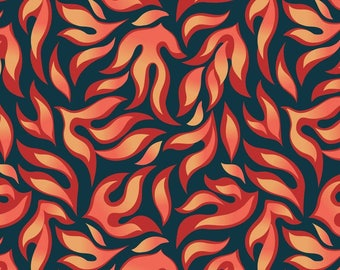 Flame Fabric, Fire Fabric, Dragon Fire Flames, Red, Orange, Midnight, Fairy Tale, Adventurer, Whimsical Fabric, 100% Quilting Fabric