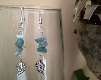 Silver Pearl Earrings leaf turquoise chips