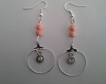 Earrings silver oerle pink and shiny