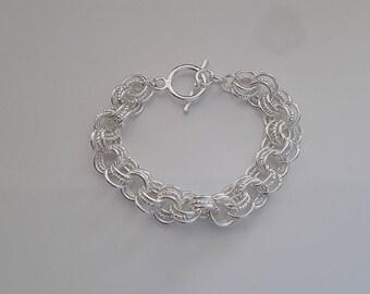 Bracelet sterling silver triple link 925