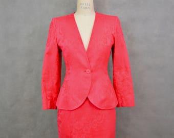 Vintage Yves Saint Laurent Suit   1980s Skirt Suit   Power Suit   Designer Suit