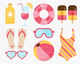 Girls Pool Party Clipart Set - A0002