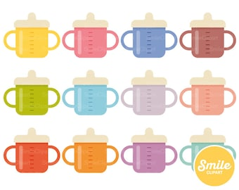 Baby Cup Clipart Illustration for Commercial Use | 0425