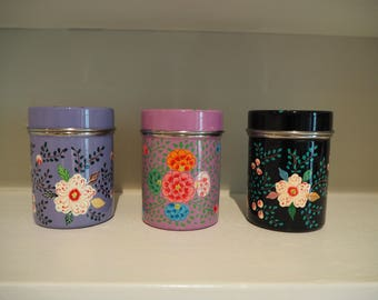 Hand Painted Kashmir Enamelware Gypsy Hippie Shabby Chic Floral Glamping Tea Coffee Spice Sugar Tins Canisters x 3