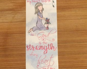 Bible Verse Bookmark - Psalm 73:26 handmade WITHOUT tassel (stock #3)