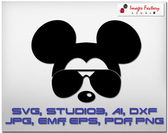Mickey Mouse with sunglasses - Cuttable Cricut Design Space, Silhouette Digital Cut Files Instant Download, svg dxf studio3  disney clipart