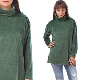 GREEN Vintage Sweater 80s Velvet Longline Jumper Turtle-Neck Slouch Nerd Casual Women Stretchy Cotton Sweatshirt sz Large