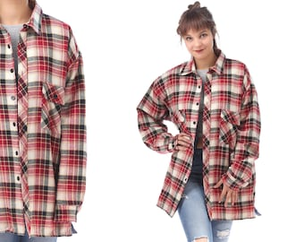 QUILTED Red Flannel Jacket 80s Plaid Men Shirt Grunge Lumberjack Tartan Plaid White Black Oversize Long Sleeve Button Up Vintage Large to XL