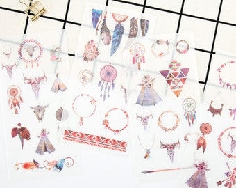 Set of 6 Dream Catcher Washi Stickers - Planner, Journal, Craft, Scrapbooking, Decoration