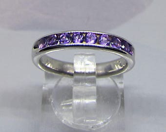 Ring Silver 925/1000 Rhodie adorned with 9 Amethyst natural size 50 52 54. 25% with code: SOLD17
