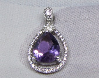 Sterling Silver amethyst and cubic zirconia