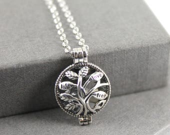 Sterling Silver Tree of Life Memorial Cremation Ash Locket Necklace. Keepsake Memory of Loved, Memorial Jewellery, Urn Necklace