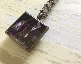 Custom marble painted pendant necklace